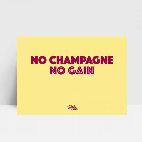 no champagne no gain ansichtkaart wijn