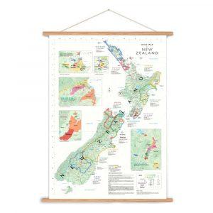 nieuw-zeeland wijnkaart poster wijngaarden